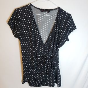 Candy couture L polka-dot wrap style tie blouse